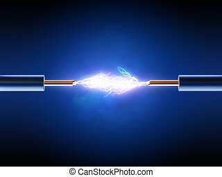 Electrical spark between two insulated copper wires 3d...