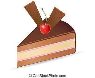 piece of chocolate cake with cherries illustration isolated...