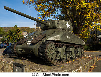 tank in la roche - a tank from the second world war in la...
