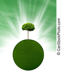 Environmentally friendly planet with tree and grass
