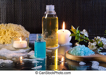 preparation for the bubble bath and candles