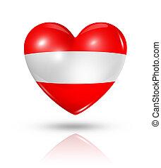 Love Austria, heart flag icon - Love Austria symbol. 3D...