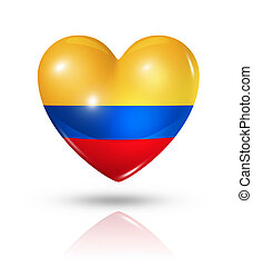 Love Colombia, heart flag icon - Love Colombia symbol. 3D...