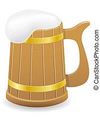 wooden beer mug illustration