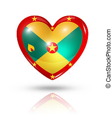 Love Grenada, heart flag icon - Love Grenada symbol 3D heart...