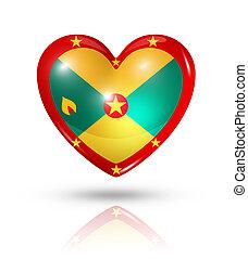 Love Grenada, heart flag icon - Love Grenada symbol. 3D...