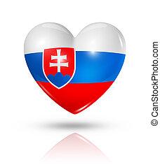 Love Slovakia, heart flag icon - Love Slovakia symbol. 3D...