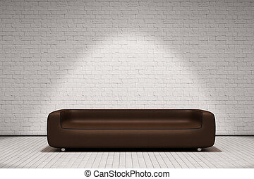 Brick wall and couch - White Brick wall and brown leather...