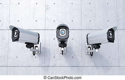 tres, Seguridad, camaras, frontal, vista