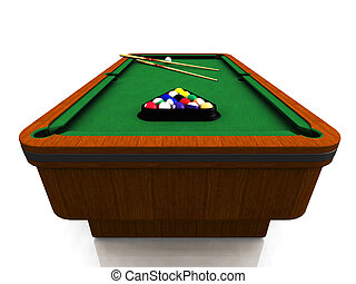 Billiard table - A billiard table with balls in a triangle...
