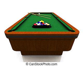 Billiard table - A billiard table with balls in a triangle...