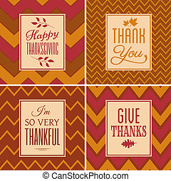 Thanksgiving Cards Collection - A set of four chevron...