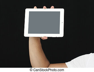 showing digital tablet