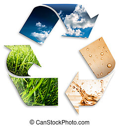 recycling symbol: cloudy sky, water