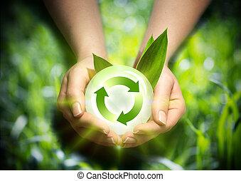 renovável, energia, mãos