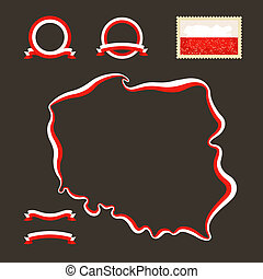 Colors of Poland - Outline map of Poland. Border is marked...