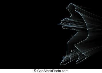 Blue Baseball - Baseball player silhouette over black...