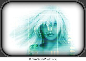 高科技, 技術, 背景, 臉