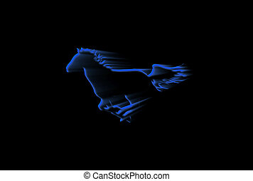 Blue Running Horse - Silhouette of a running horse over...