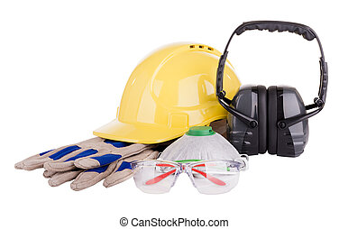 Safety Equipment Isolated - Safety equipment or PPE -...
