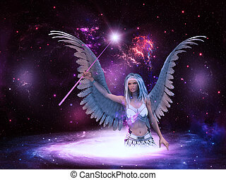 Space angel - Female angel with purple stick in the space...