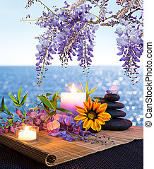 Massage stones, daisies and wisteria - seabed