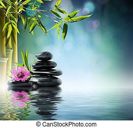 tower black stone and hibiscus with
