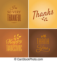 Thanksgiving Cards Collection - A set of four typographic...
