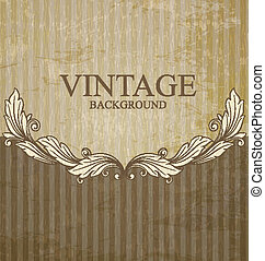 Vintage scroll pattern at grunge ba