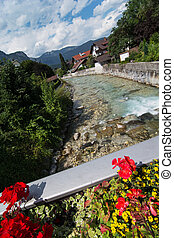 Partnach river in Garmisch-Partenkirchen, Bavaria, Germany.