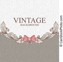 Vintage background with ornaments and a bow