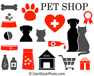 set of pet icons - colorful set of veterinary pet icons