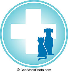 blue veterinary symbol with cross and pets