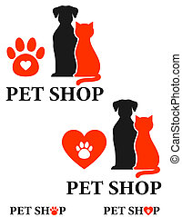 pet shop icon with heart and paw