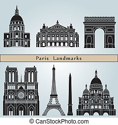 Paris landmarks and monuments isolated on blue background in...