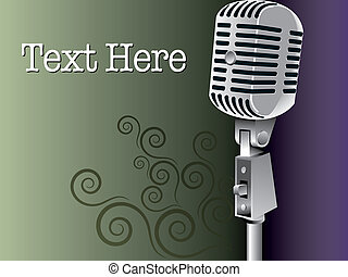vintage microphone vector background with space for text
