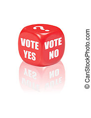 Vote yes no - Dice with different outcomes for voting...