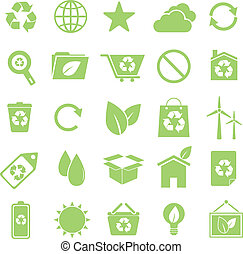 Ecology icons on white background, stock vector