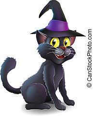 Halloween Witch Cat - A cartoon witchs familiar black cat...