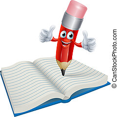 Cartoon Pencil Man Writing in Book - An illustration of a...