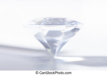 Precious Diamond Isolated On White Background - Close-up Of...