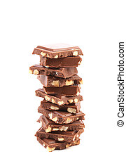 Stack of milk chocolate bar with nuts