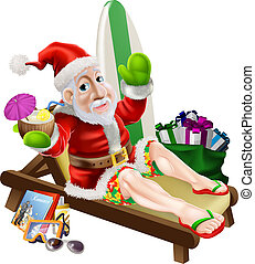 Santa Claus Beach Vacation - Christmas Santa Claus with his...