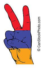 drapeau, paix, arménien, signe