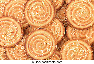 Background of sesame biscuits.