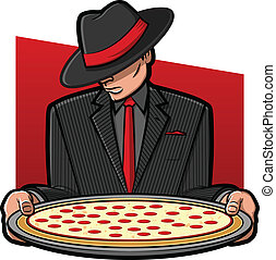 Italian Pizza - Illustration of a gangster holding a pizza...