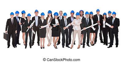 grupo, de, Arquitectos, con, azul, impresión