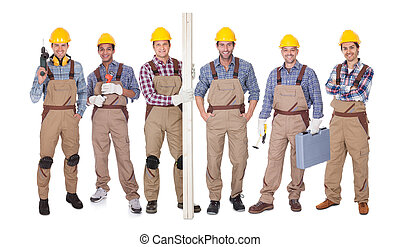 Group Of Workers With Equipment