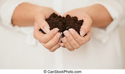 Hands holding black Soil - Caucasian female model pouring...