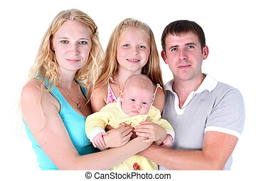 happy family with adorable little two sisters 8 year and 3...